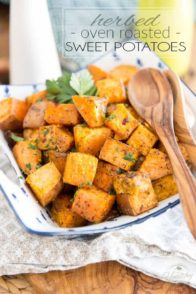 Bowl of Oven Roasted Sweet Potatoes
