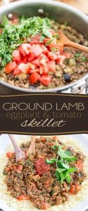 Put a little bit of exoticism on the table tonight with this Ground Lamb Eggplant Tomato Skillet! Serve on a bed of couscous, white rice, or cauli-rice, if you want to keep things paleo!