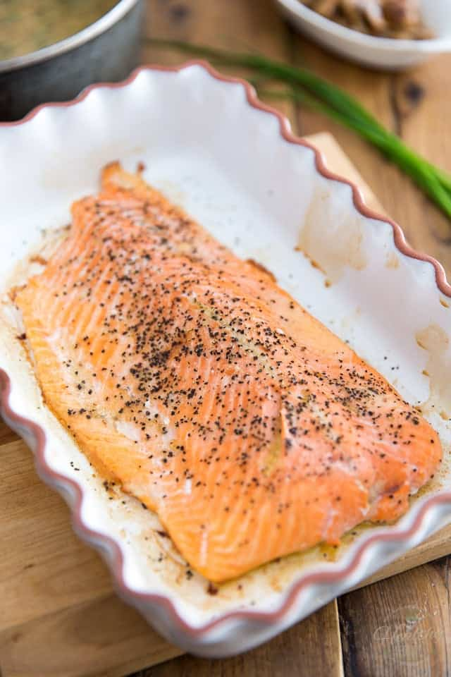 Oven Roasted Salmon with Mustard and Chive Sauce by Sonia! The Healthy Foodie | Recipe on thehealthyfoodie.com
