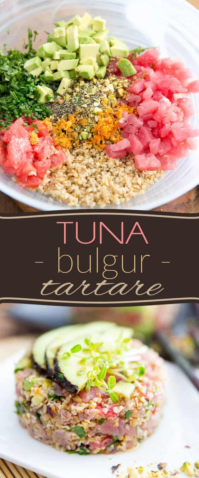 This Tuna Bulgur Tartare is such a nice twist on a great classic: it's fresh, it's tasty, it's crunchy, it's chewy, nutty and not fishy in the least! It has a flavor profile that is so subtle, making it perfectly accessible even to those who aren't sold on the idea of eating raw fish...