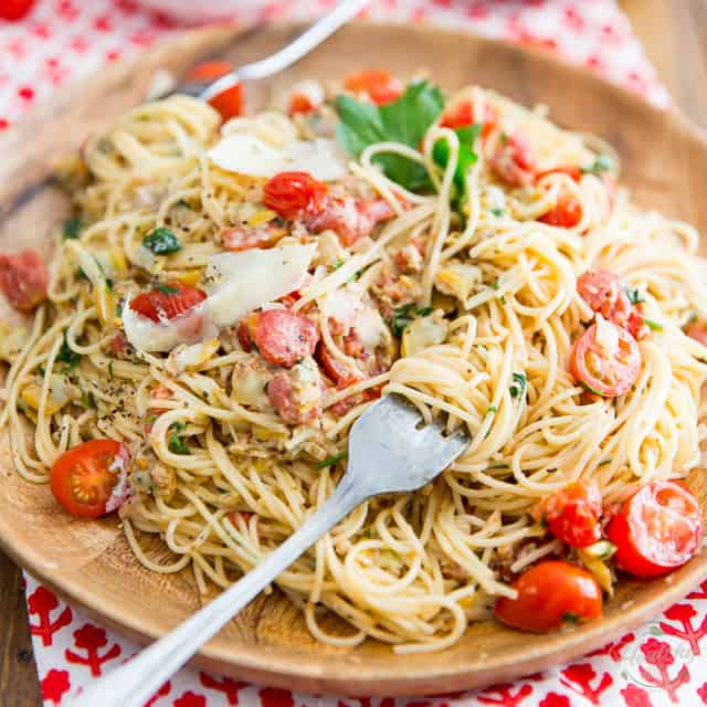 Clams And Cherry Tomatoes Angel Hair Pasta The Healthy Foodie