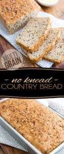 Think making your own bread at home is too much hard work? Think again! This Multigrain No Knead Country Bread is every bit as easy to make as it is good to eat!