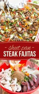 "Ready in just 10 minutes, these Sheet Pan Steak Fajitas are incredibly easy to make and bursting with so much flavor, they're guaranteed to have the whole family sitting at the table before you can even say ""dinner is ready"". And when a dish is this good, why even bother letting them know that it's actually good FOR them?"