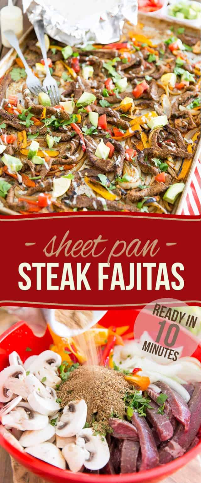 Ready in just 10 minutes, these Sheet Pan Steak Fajitas are incredibly easy to make and bursting with so much flavor, they're guaranteed to have the whole family sitting at the table before you can even say