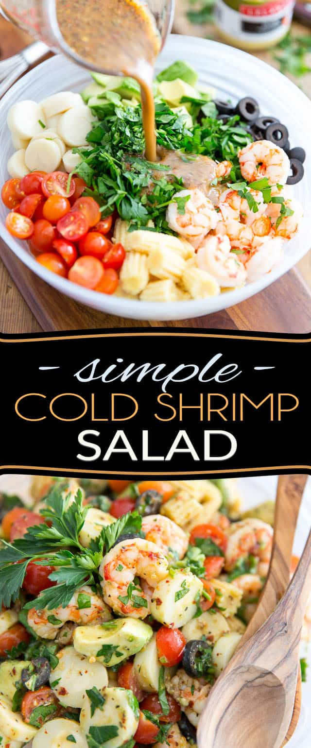 Ready in just about 5 minutes, this Simple Cold Shrimp Salad is as easy to make as it is delicious to eat! Perfect for lunch at the office or as a light meal, it could also be served as a side and would no doubt be the star of any given potluck!