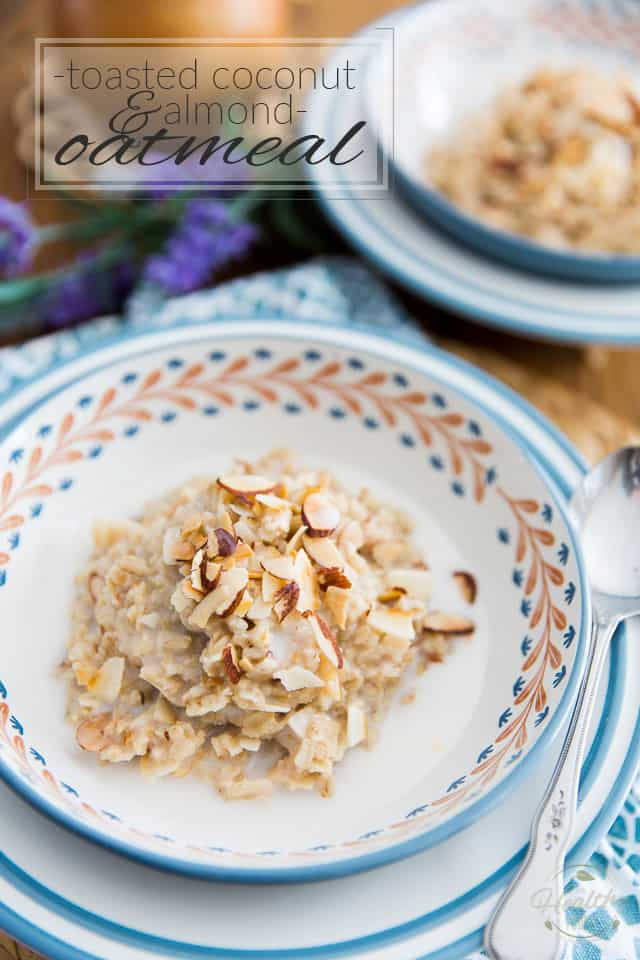 Nothing quite beats a comforting bowl of warm oatmeal on a cold winter morning... except maybe a bowl of warm Toasted Coconut and Almond Oatmeal! Try it once, I swear that breakfast will never be the same!