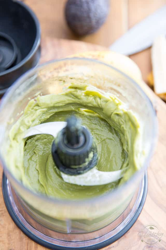 Avocado mousse in the bowl of a small food processor