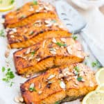 Honey Almond Oven Baked Salmon by Sonia! The Healthy Foodie | Recipe on thehealthyfoodie.com