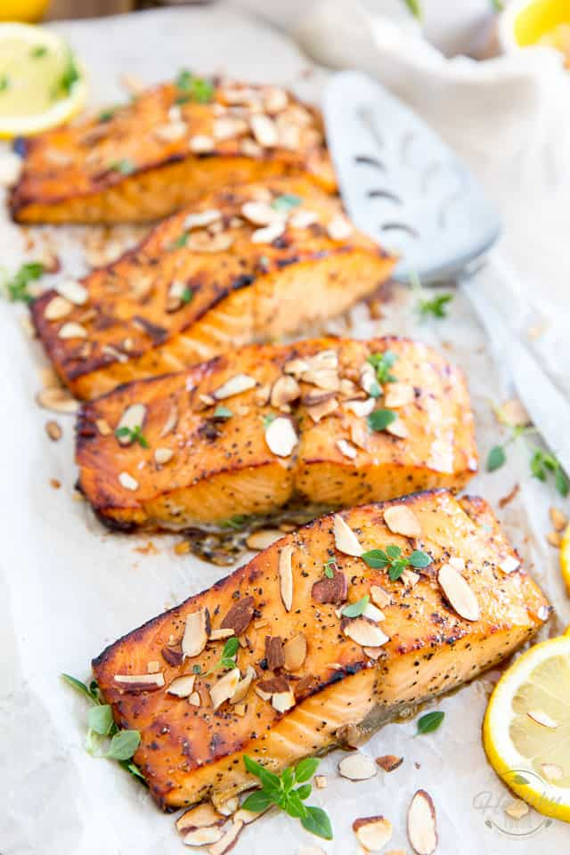 Ready in mere minutes, this Honey Almond Oven Baked Salmon is so easy to make yet so tasty and so elegant, you can basically serve it for any occasion, any time of day or year!