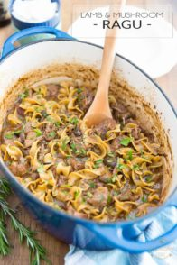 Braised slowly with love in a Dutch oven, chock full of melt-in-your-mouth tender chunks of lamb meat and large pieces of mushroom, brought together by a rich and crazy tasty dark beer sauce, this Lamb and Mushroom Ragu truly is as hearty and comforting as can be!