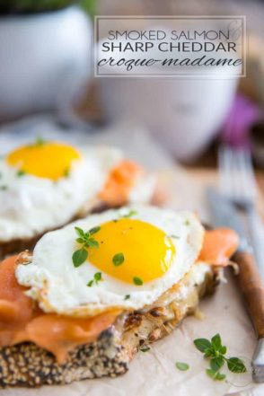 Ready in mere minutes, these Smoked Salmon and Sharp Cheddar Croque-Madame make for a super quick and easy, yet super elegant and delicious breakfast.