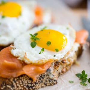 Smoked Salmon and Sharp Cheddar Croque-Madame by Sonia! The Healthy Foodie | Recipe on thehealthyfoodie.com