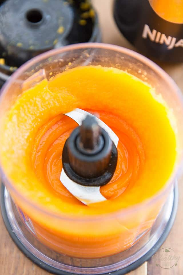 Butternut squash puree in the container of a mini food processor