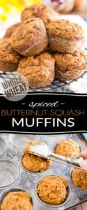 Deliciously spiced and just sweet enough, these Whole Wheat Spiced Butternut Squash Muffins are made with nothing but wholesome ingredients and contain no refined sugar whatsoever. Bet you'll have a hard time believing that when you bite into one - they're just way too good to be that healthy!