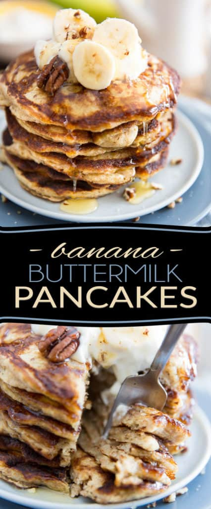 Just like a cross between Buttermilk Pancakes and Banana Bread, these Banana Buttermilk Pancakes are so crazy moist, fluffy and deliciously tasty, they might very well become your ultimate favorite breakfast in the whole wide world! Oh, and did I mention just how easy they are to make, too?