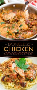 A classic of Italian Cuisine, in a much easier to eat version! Indeed, this Boneless Chicken Cacciatore, as its name implies, contains no bones or inedible parts that would inevitably force you to pick at your food, so you can focus on just one thing: enjoy your meal in all its glory!