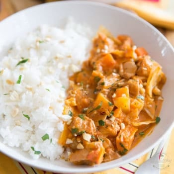 This Senegalese Mafé is a delicious and sumptuousChicken stew that also happens to be chock-full of hearty chunks of sweet potatoes, carrots, rutabaga and cabbage, all blanketed in a creamy, slightly spicy tomato peanut sauce.