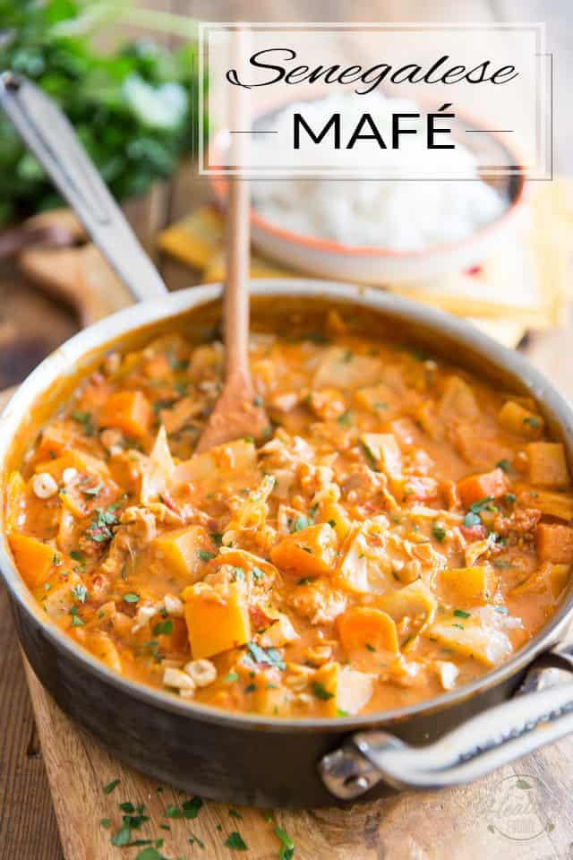 This Senegalese Mafé is a delicious and sumptuous Chicken stew that also happens to be chock-full of hearty chunks of sweet potatoes, carrots, rutabaga and cabbage, all blanketed in a creamy, slightly spicy tomato peanut sauce.