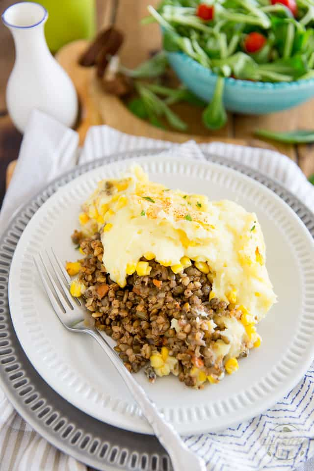 A meatless version of a timeless classic, this Vegetarian Cottage Pie has so much to offer in the flavor and texture departments, you'll probably like it better than the real thing! A perfect solution for your meatless Friday dinners that even the hardcore meat lovers will totally fall for.
