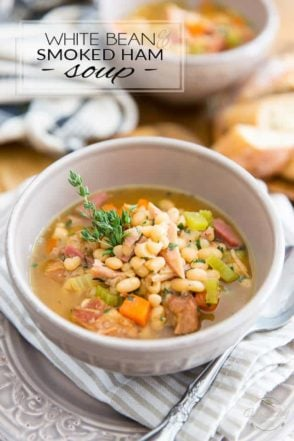 This White Bean and Smoked Ham Soup is as hearty and nutritious as can be! The perfect way to warm you up on a chilly day, or to use up your leftover ham!