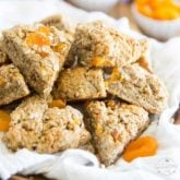 Not only are these Apricot Almond Oatmeal Scones absolutely delicious, they're also super good for you. And contrary to what you may think, they really don't take that long at all to make, either! They're perfect for breakfast, or for a quick snack!