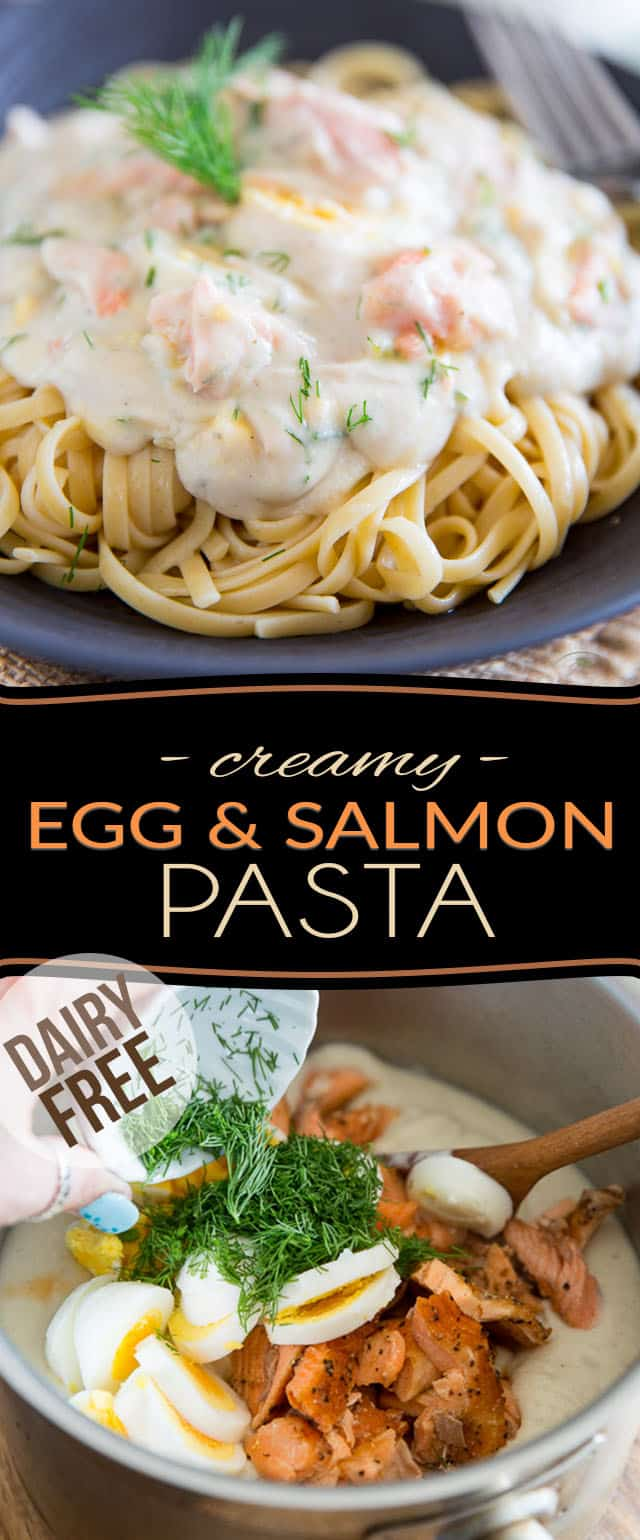 Big chunks of salmon, slices of eggs, a hint of fresh dill, all brought together by a rich and creamy... cauliflower sauce, this dairy free Creamy Egg and Salmon Pasta might seem super indulgent, but it's loaded with all the good stuff that'll do your body good!
