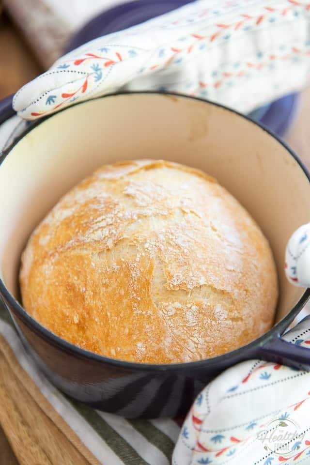 Not only is this No Knead Dutch Oven Bread the easiest bread you'll ever bake, it's also one of the best you'll ever eat! It's melt-in-your mouth soft on the interior with a super crispy, crunchy, almost flaky crust and tons of flavor, too!