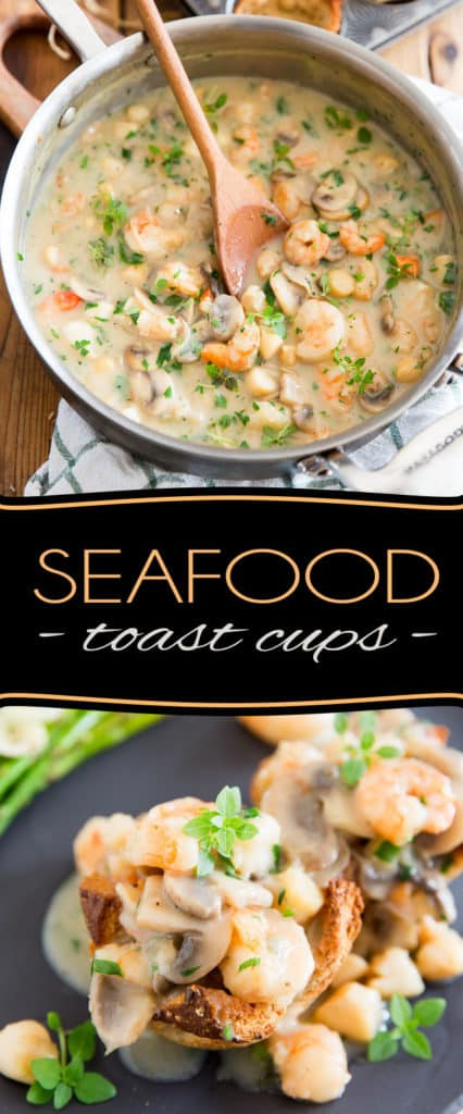 If you ever find yourserlf in need of whipping up a fancy dinner but also happen to be crunched for time, then these Seafood Toast Cups might very well save the day! They are just as tasty as they are elegant, and come together in no time at all!