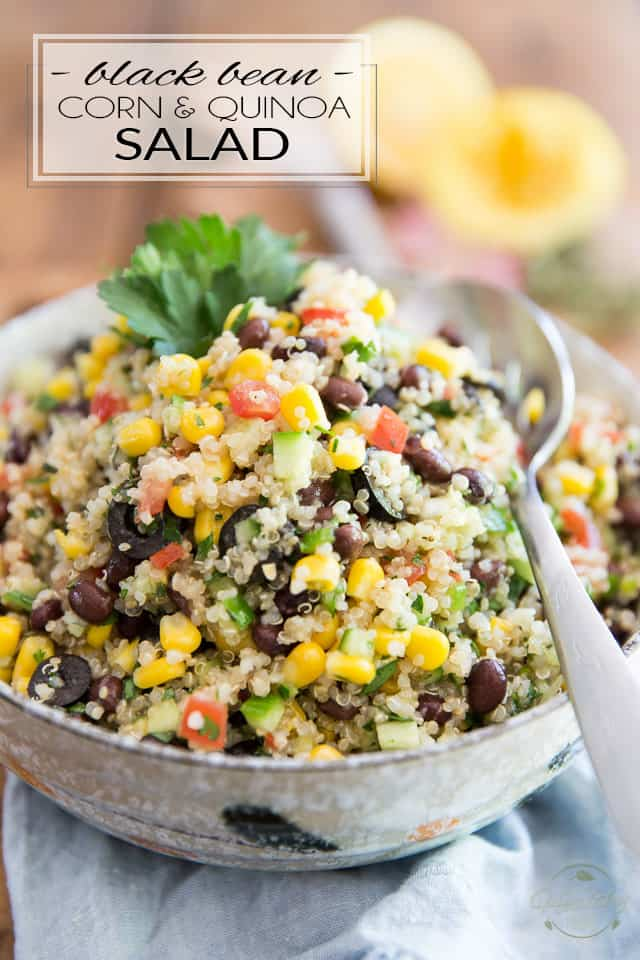 Inspired by my favorite Lebanese restaurant, this extremely simple but super tasty Black Bean Corn and Quinoa Salad goes good with just about anything and is just as enjoyable any time of the year!
