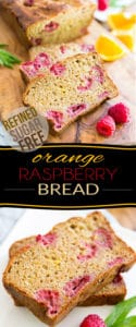 Perfect for breakfast or for a quick snack, this Orange Raspberry Bread might be free of refined sugar, but it certainly doesn't lack in the flavor department! Indeed, you're in for intense orange and raspberry flavors all wrapped up in a perfectly moist, airy and toothy package.