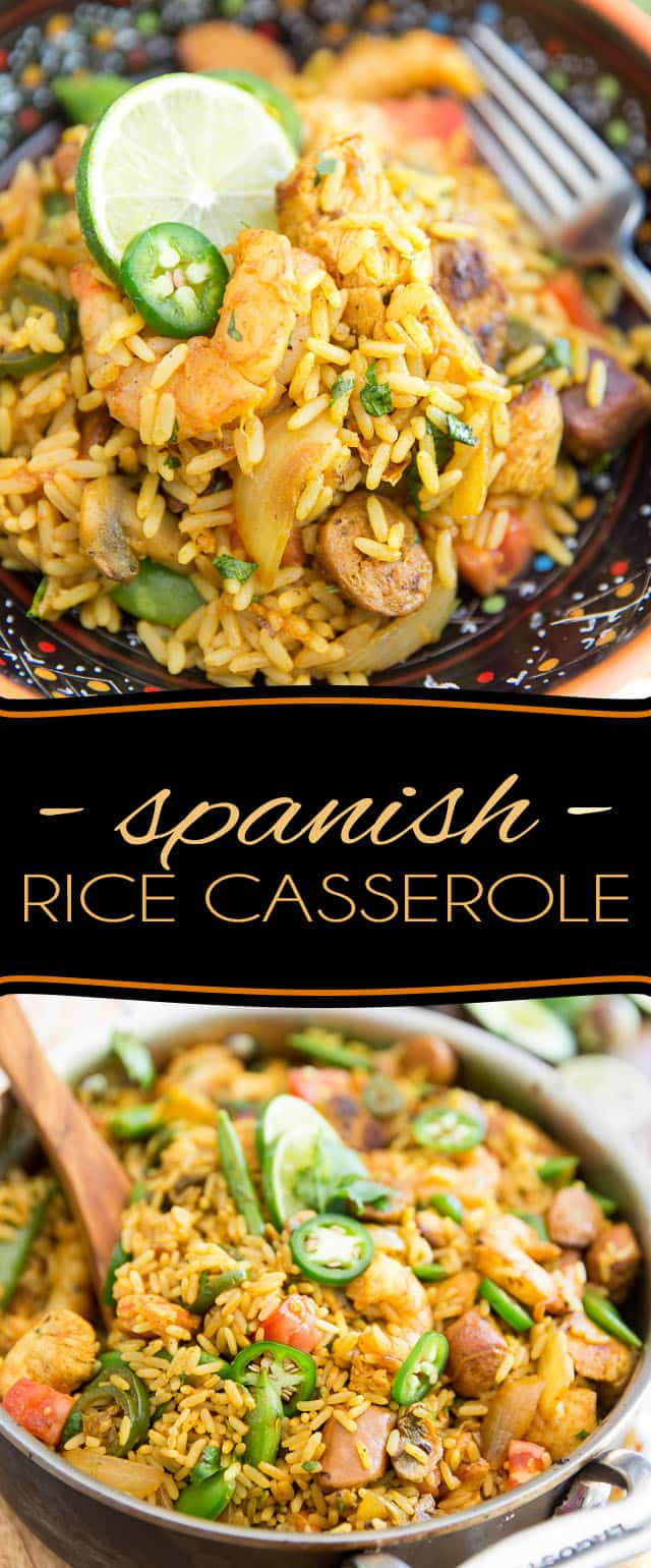 Bring a touch of exoticism to your plate with this Paella inspired Spanish Rice Casserole. Much easier to make - and to eat - than the dish that inspired it, it is chockful of bold, exotic flavors, as well as loads of meat and veggies to keep you satisfied for a very long time!