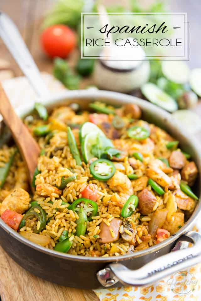 Bring a touch of exoticism to your plate with this Paella inspired Spanish Rice Casserole. Much easier to make - and to eat - than the dish that inspired it, it is shockful of bold, exotic flavors, as well as loads of meat and veggies to keep you satisfied for a very long time!