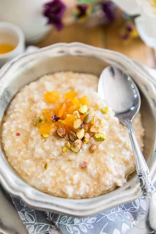 Steel-Cut Oatmeal is nutty, crunchy, chewy and creamy all at once! It's the perfect picker-upper to comfort you on a cold, brisk winter morning, or on any dark, chilly and rainy day! Try it on its own, or garnished with your favorite toppings!