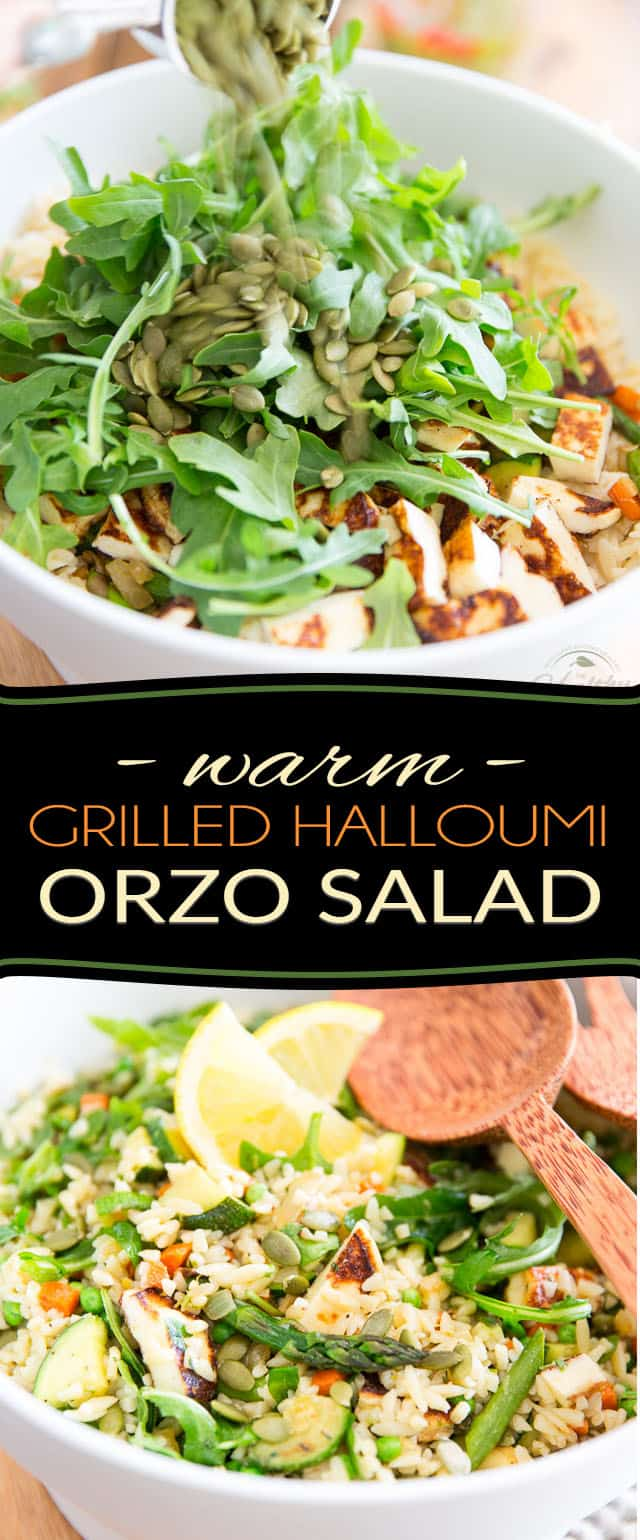 Despite its name, this beautiful, refreshing and super sturdy Warm Grilled Halloumi Orzo Salad is just as delicious eaten warm or cold, making it the perfect candidate for a light summer lunch, family picnic or BBQ among friends!