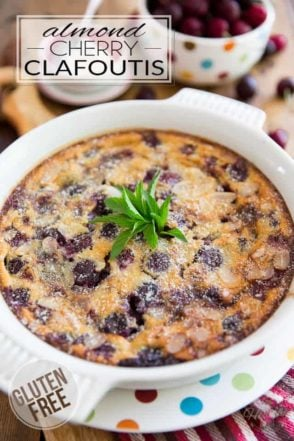 Super refreshing and easy to make, this Gluten Free Almond Cherry Clafoutis not only is delicious, but it's filled with all kinds of good stuff that'll do your body good!