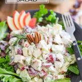 Here's a very unique and intriguing take on the classic Chicken Waldorf Salad, loaded with all kinds of tasty morsels of chicken, avocado, grapes, apples and celery, a handful of nuts, all generously coated in a creamy, tangy goat cheese dressing!