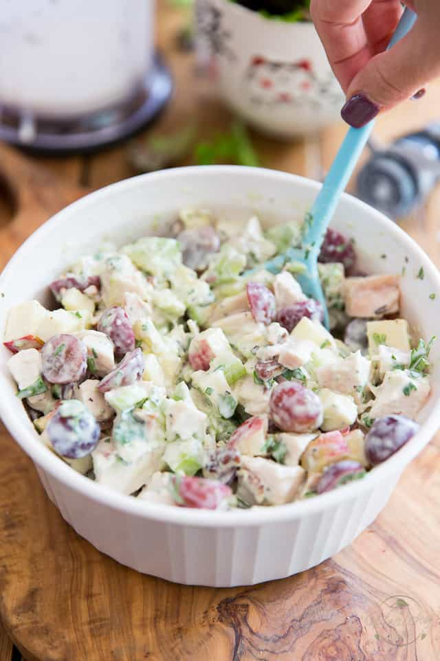 Waldorf Salad in a white ceramic bowl