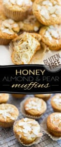 Free of gluten and refined sugar, these Honey Almond Pear Muffins are filled with wholesome ingredients and make for the perfect good-for-you snack or breakfast on the go!