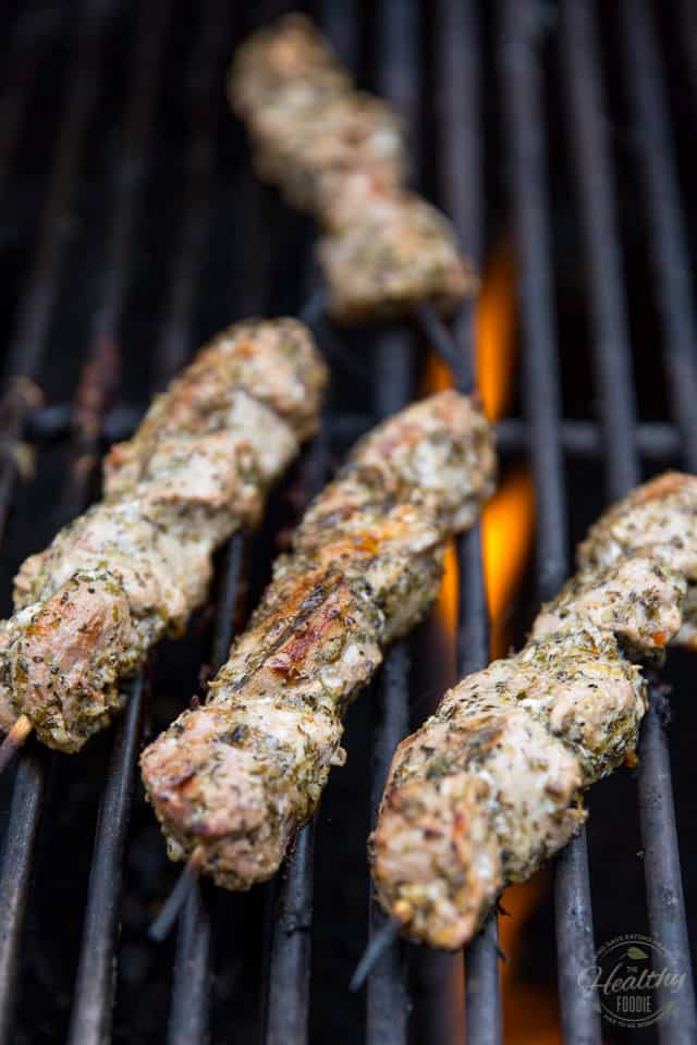 Pork Souvlaki cooking on the hot grill!
