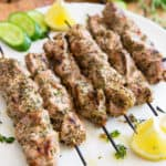 These Greek Pork Souvlaki are very easy to make and taste so crazy good, you'll want them to keep your outdoor grill occupied all summer long!