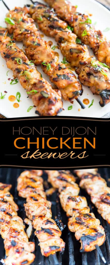 These Honey Dijon Chicken Skewers are crazy tender and juicy, super tasty with a little bit of a kick... and they're very easy to make, too! Why not throw them on the grill today?