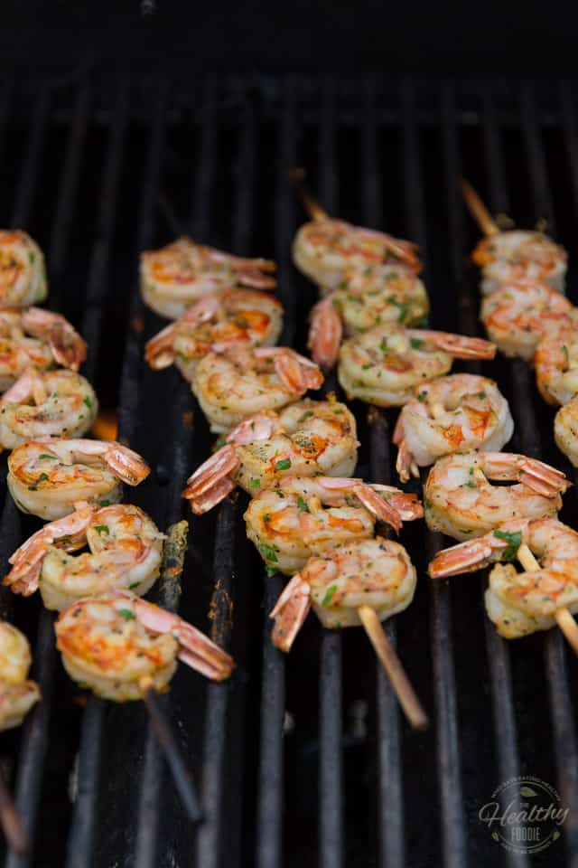 Shrimp Skwers on the grill