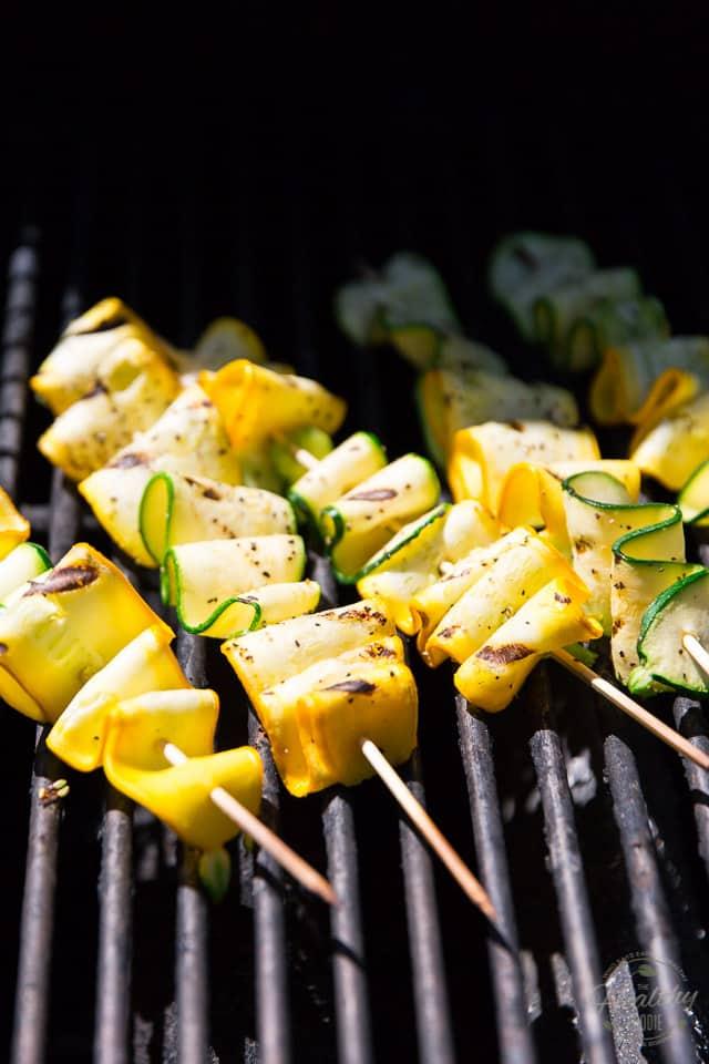 Zucchini Ribbon Skewers on the grill