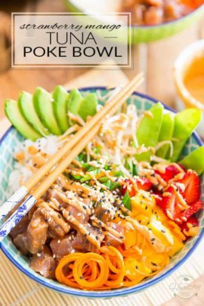 If you are a fan of sushi, then you will be all over this Strawberry Mango Tuna Poke Bowl! It's a bit like sushi in a bowl, like sushi made super easy... I'm telling you, nutritious food has never tasted this good!