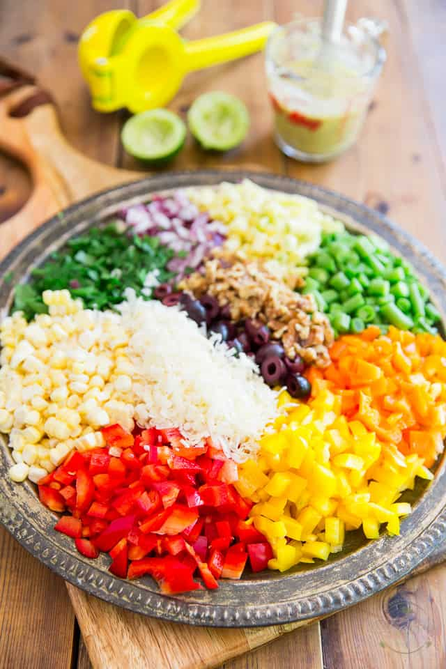All kinds of beautiful and colorful vegetables prettily arranged in a round platter