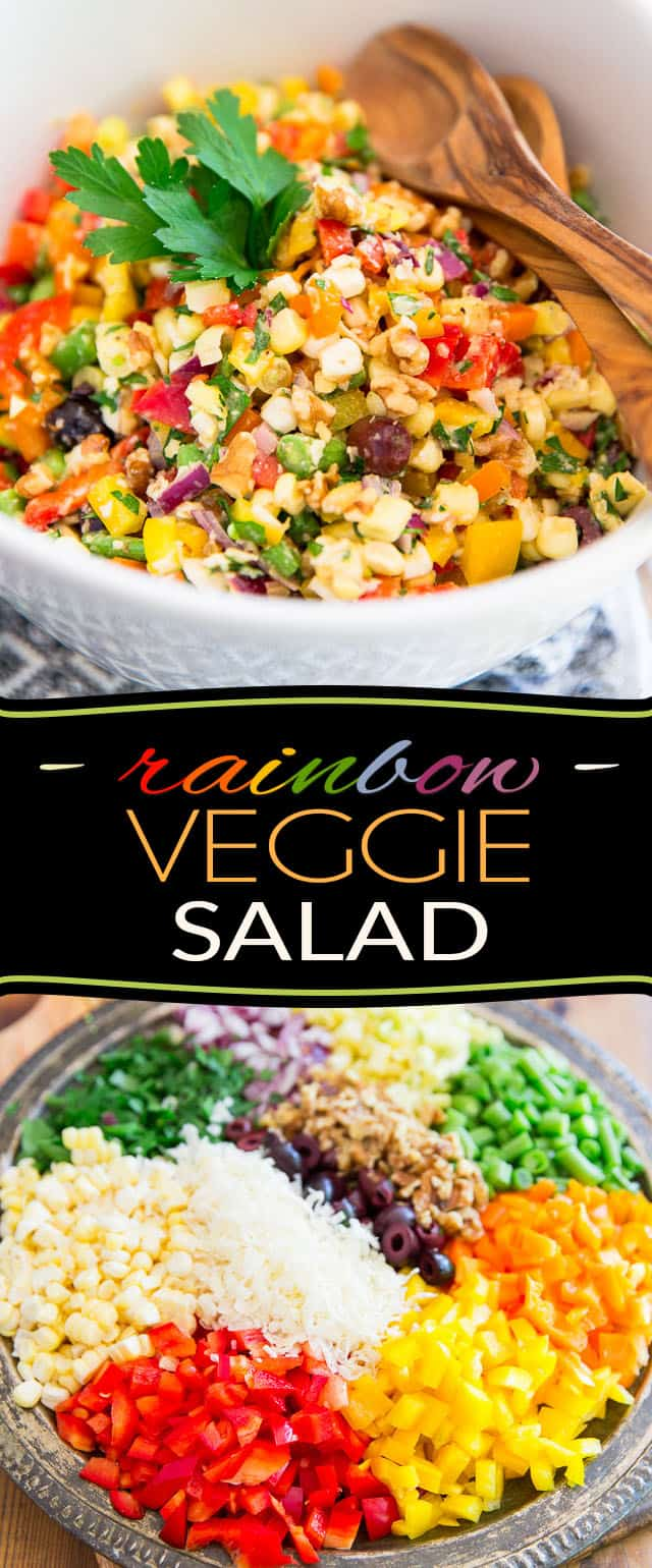 Loaded with more so much nutritious stuff, this Rainbow Veggie Salad is as good for you and as pleasing to the taste buds as it is colorful!