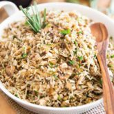 This Brown Lentil and Mushroom Rice makes for a very tasty side dish but would also be perfect as a vegetarian meal!