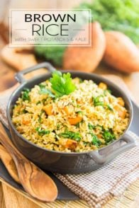 Here's a crazy nutritious and tasty Brown Rice dish with a very delicate and subtle Indian flavor profile. It'll accompany any meal with a touch of exoticism without completely taking over. And talk about pretty, too!