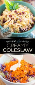 Super quick and easy to make, this Crazy Good Creamy Coleslaw will no doubt become a new favorite of yours! Indeed, the addition of apples and cranberries to this great classic is a total game changer. Just wait 'til you try it!