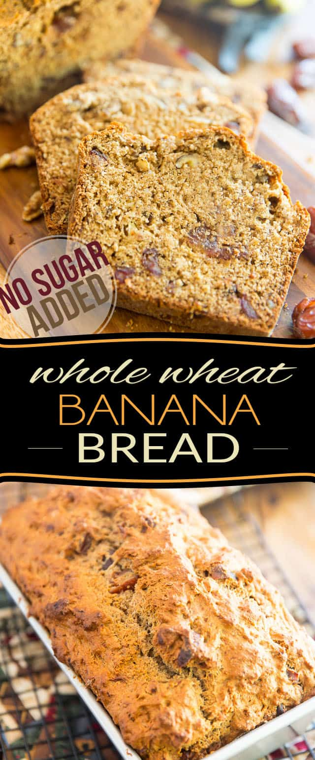 Sweetened with nothing but bananas, apple sauce and dates, this wholesome No Sugar Added Whole Wheat Banana Bread might very well become your new go to recipe! I know it's become mine!